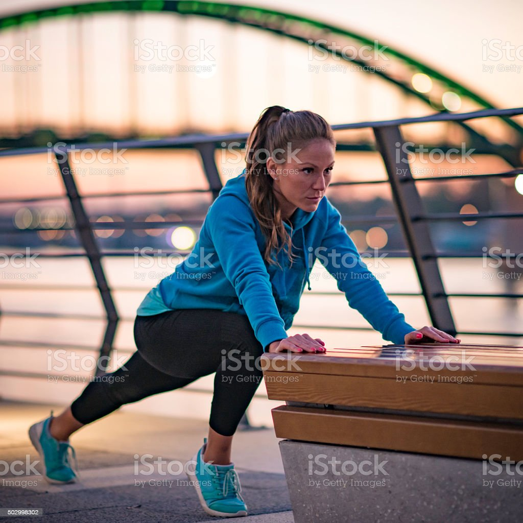 Exercising by the river stock photo