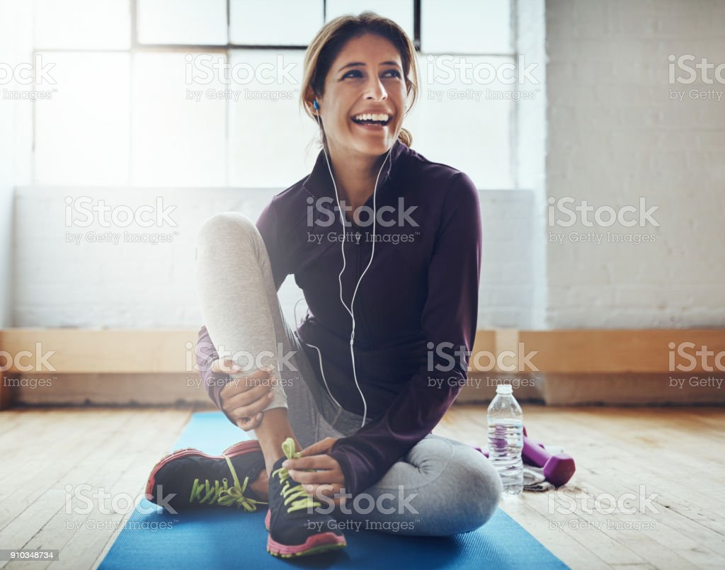 Exercising can leaving you feeling oh so great stock photo