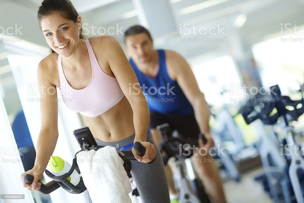 Spinning class gets my heart racing! royalty-free stock photo