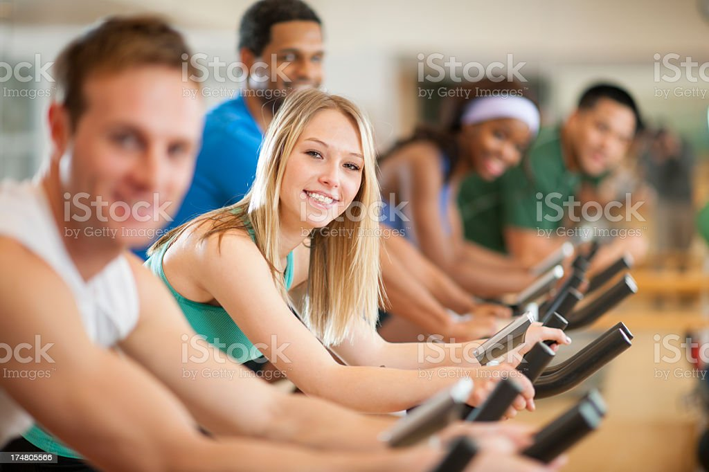 Spinning class. royalty-free stock photo