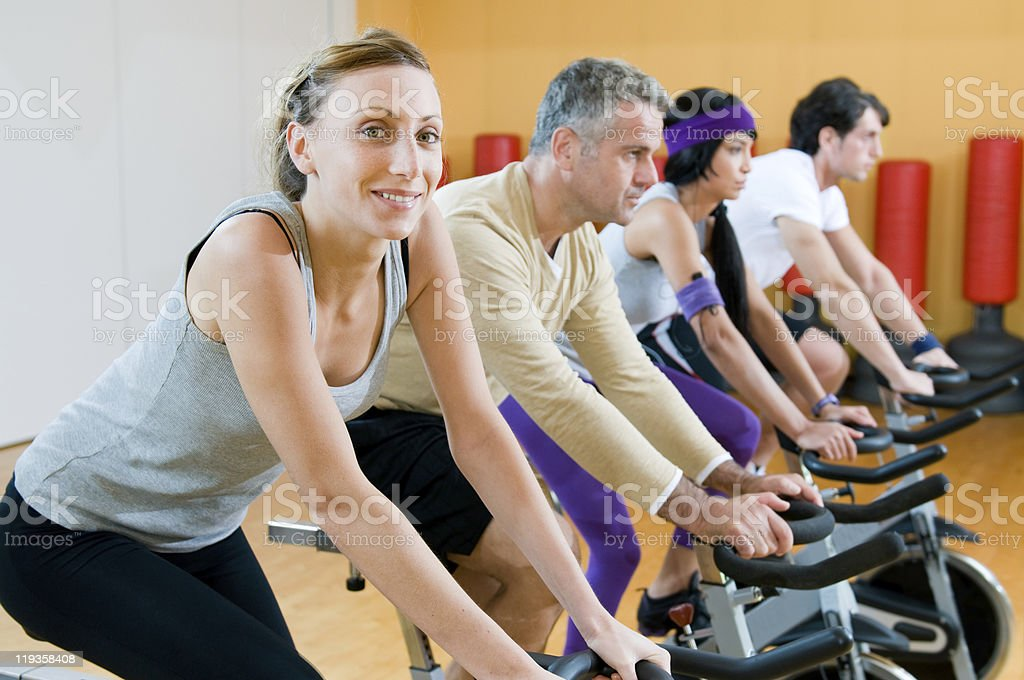 Spinning excercise royalty-free stock photo