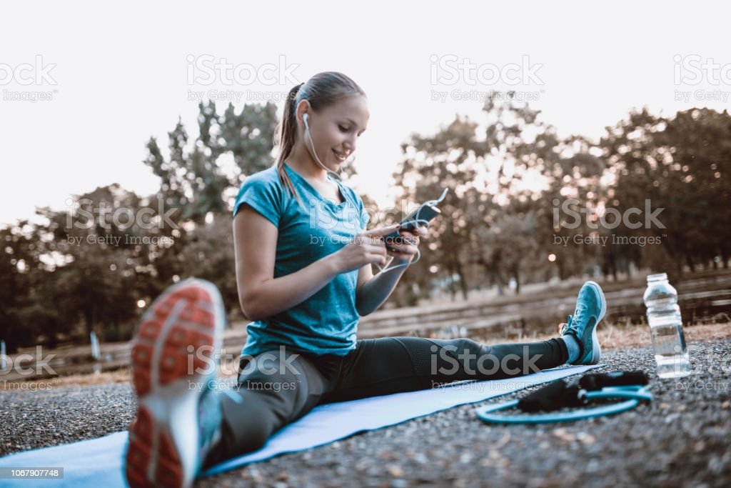 Exercising Is Easier With Music stock photo