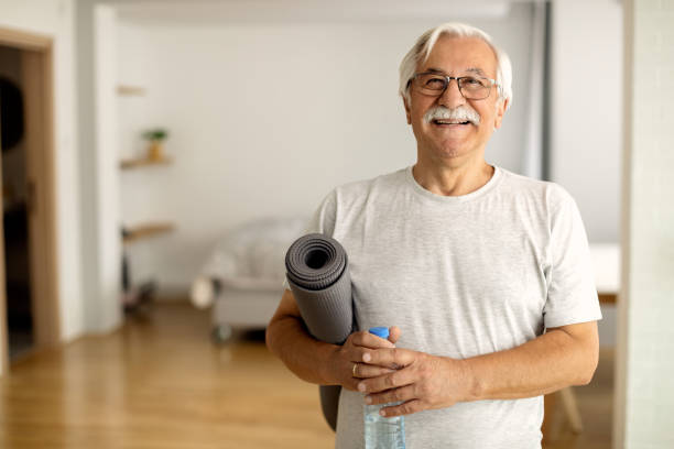 Exercising is the key of his vitality! stock photo