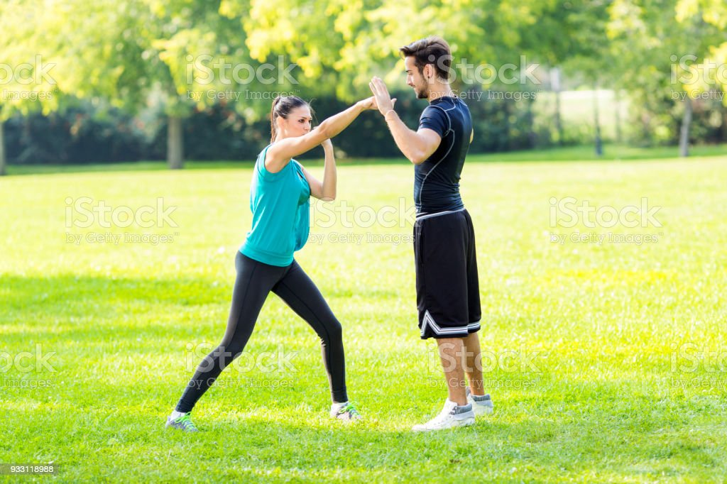 Exercising martial arts stock photo