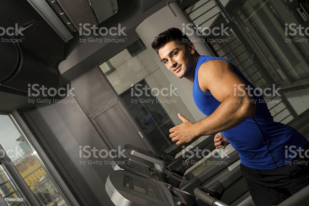 Exercising on a treadmill royalty-free stock photo