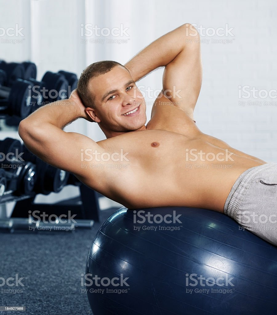 Exercising on fitness ball royalty-free stock photo