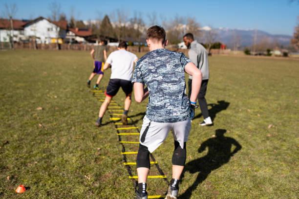Exercising outdoors stock photo