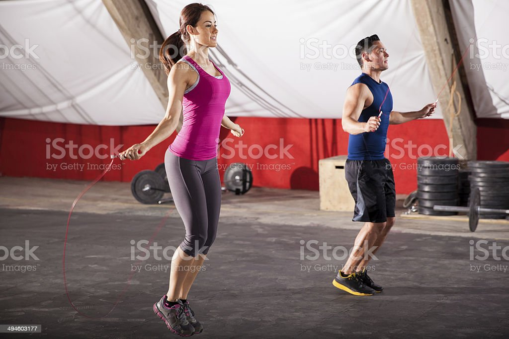 Exercising with a jump rope stock photo