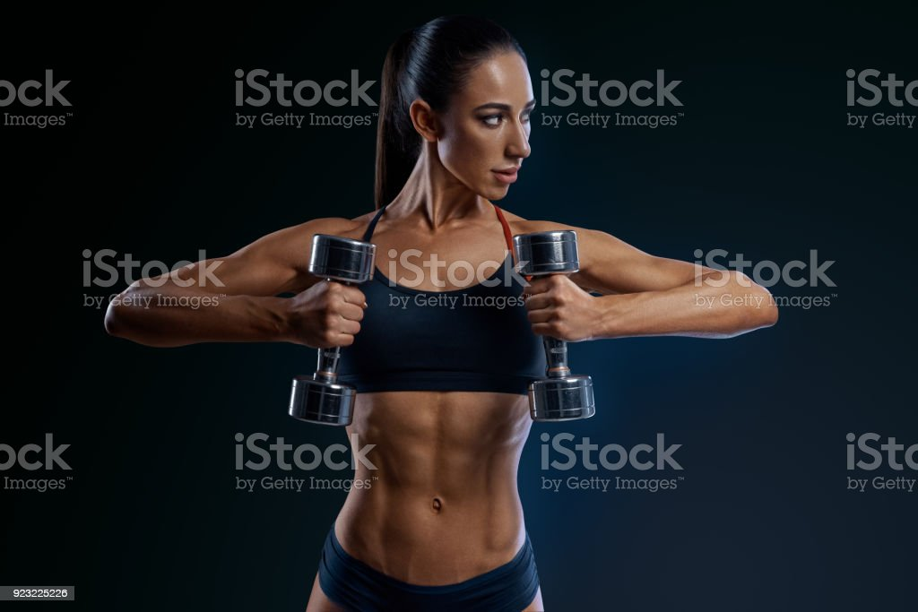 Exercitar com halteres  - foto de acervo