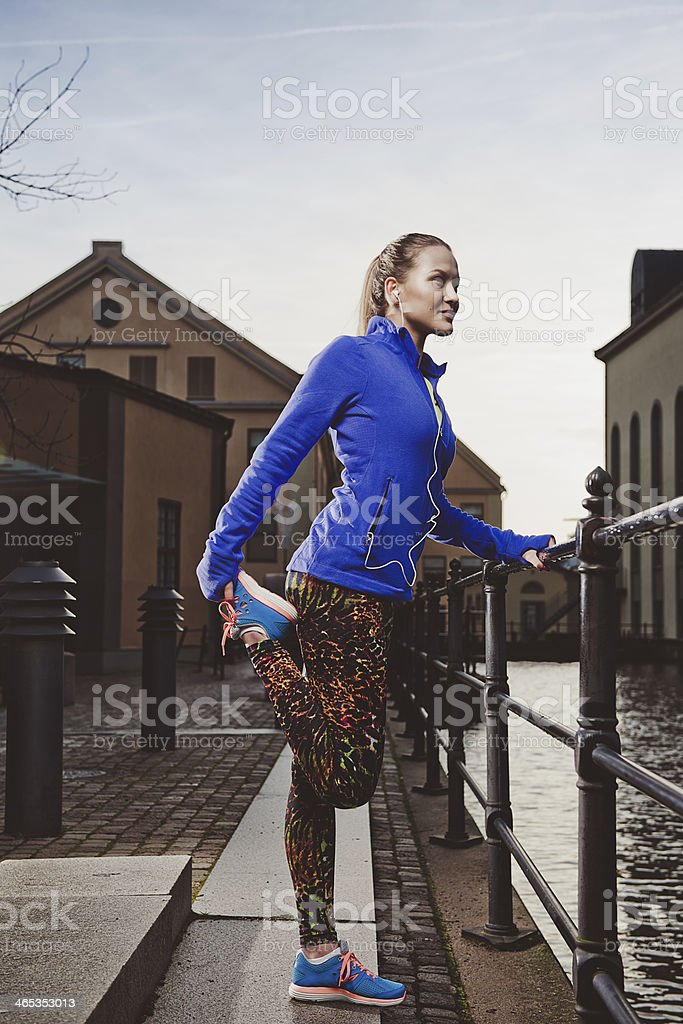 Exercising woman outdoors royalty-free stock photo