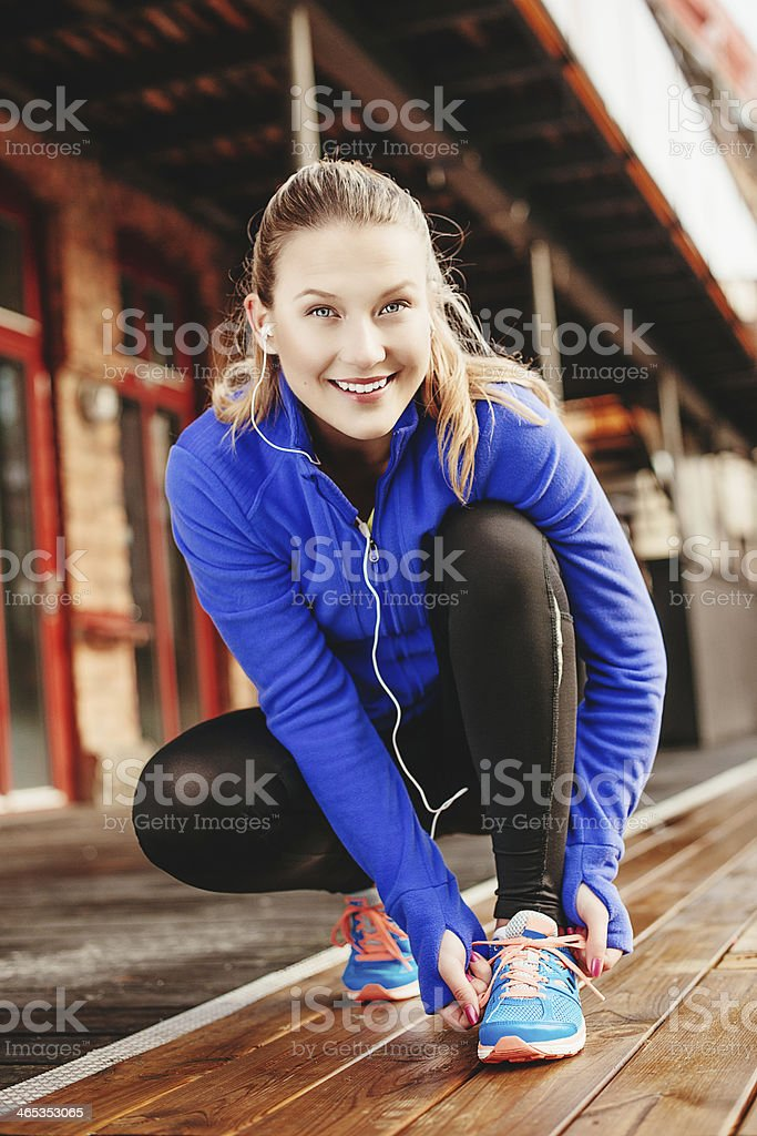 Exercising woman outdoors royalty-free stock photo