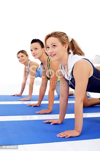 Exercising Women Looking Upwards Stock Photo & More Pictures of Adult
