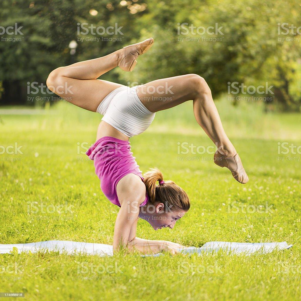 Exercising yoga royalty-free stock photo
