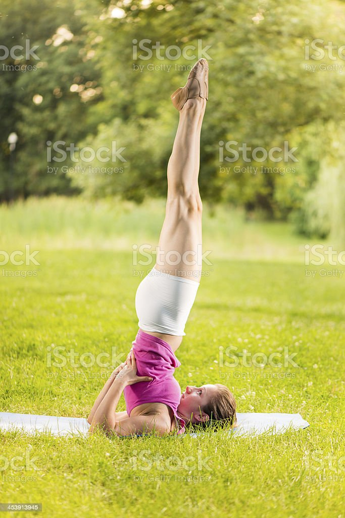 Exercising yoga royalty-free stock photo