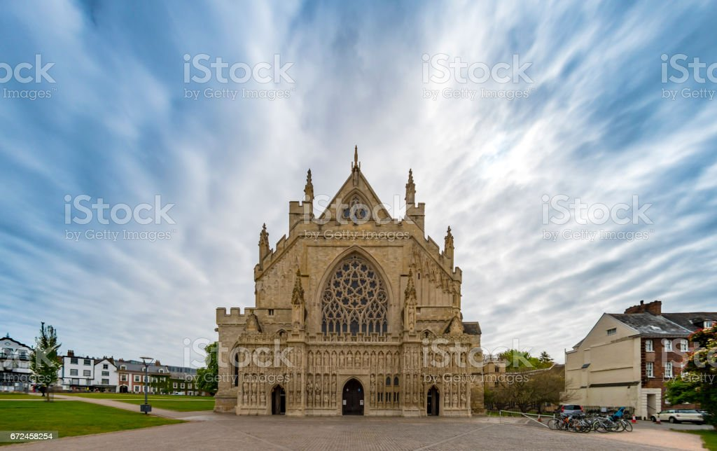 Exeter Cathedral front face in Devon stock photo