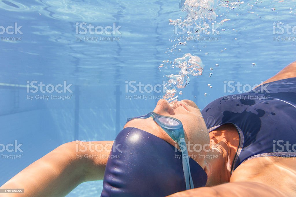 Exhaling underwater royalty-free stock photo