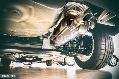 istock Exhaust pipe and technik - view under the car 853517784