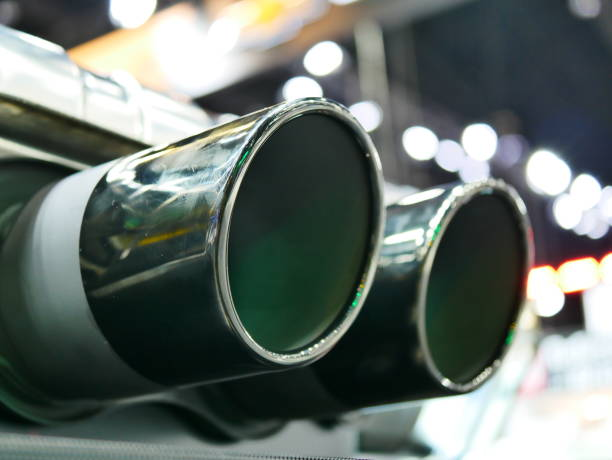 Exhaust pipe of a car stock photo
