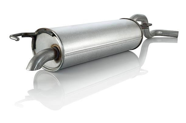 silenciador de escape - exhaust white background imagens e fotografias de stock
