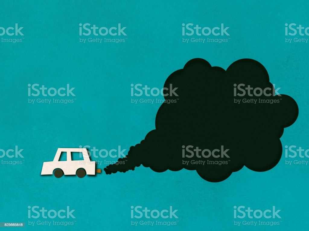 Exhaust smoke, air pollution, paper cutting style stock photo