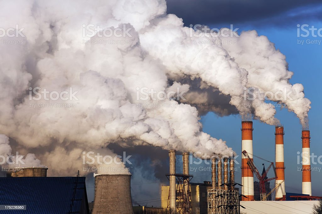 Exhaust smoke and air pollution stock photo