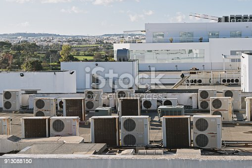 istock Exhaust vents of industrial air conditioning 913088150