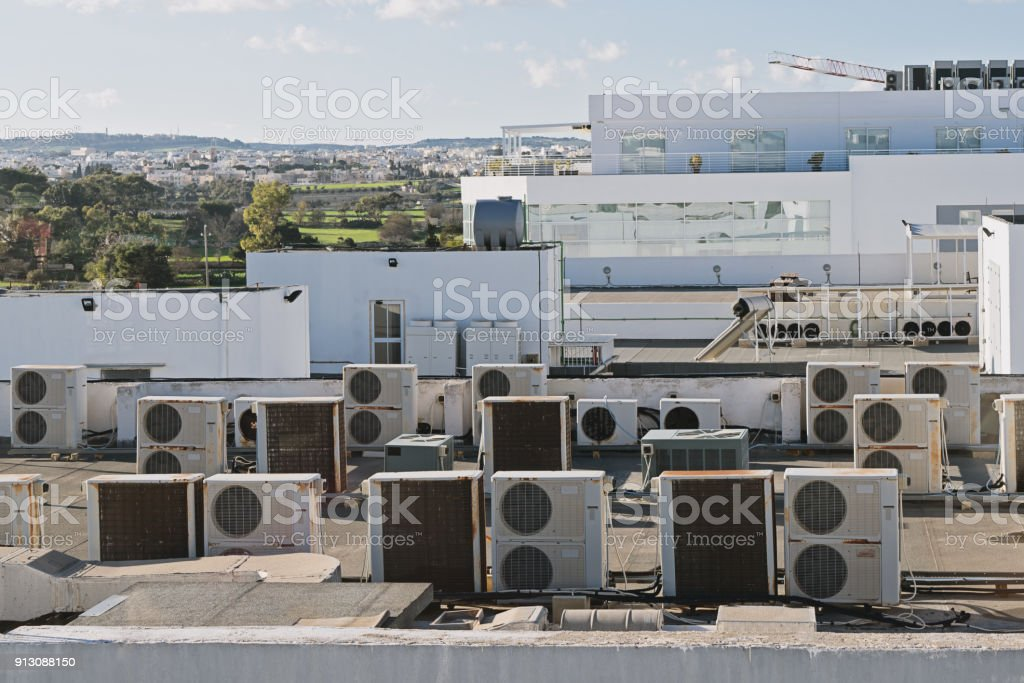 Exhaust vents of industrial air conditioning stock photo