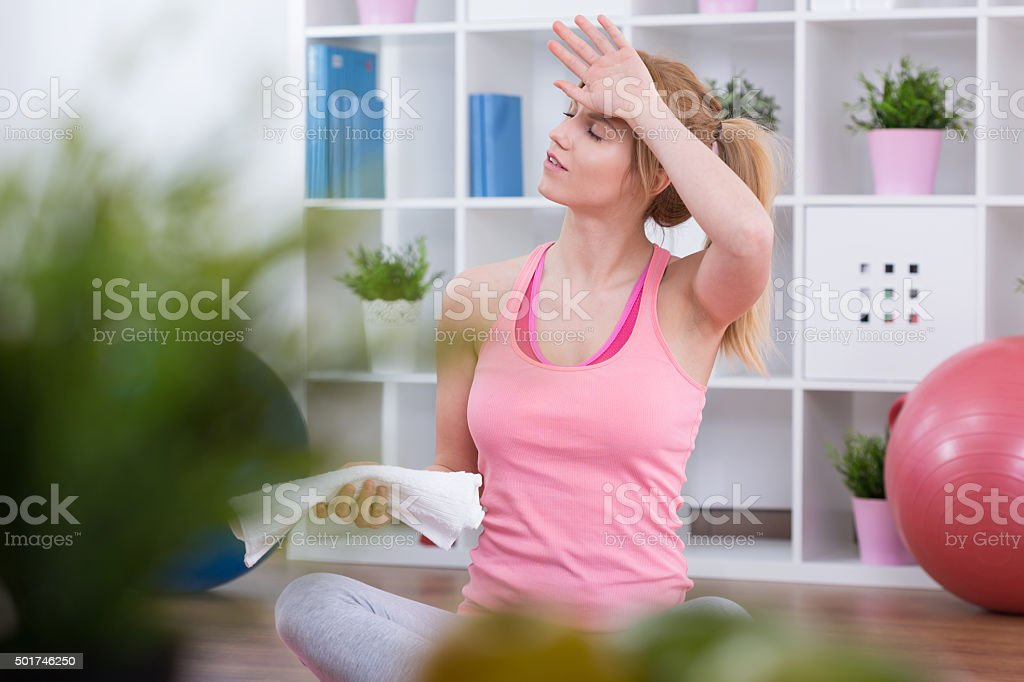 Exhausted after workout stock photo