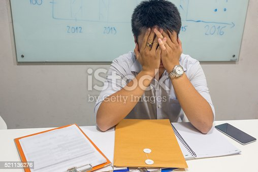 istock Exhausted and drowsy is feeling of long period working overtime 521136276