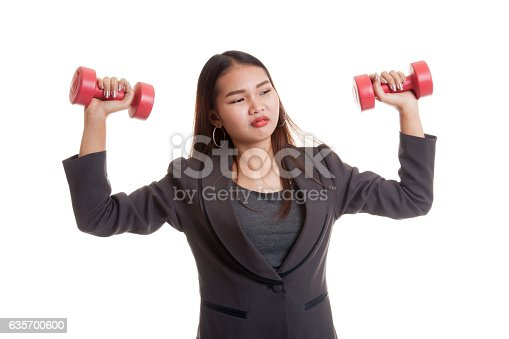 Exhausted Asian Business Woman With Dumbbells Stock Photo & More Pictures of Adult