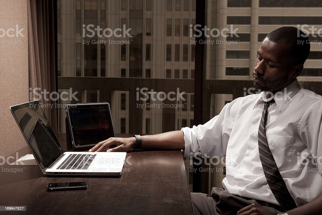 Exhausted Black Businessman royalty-free stock photo