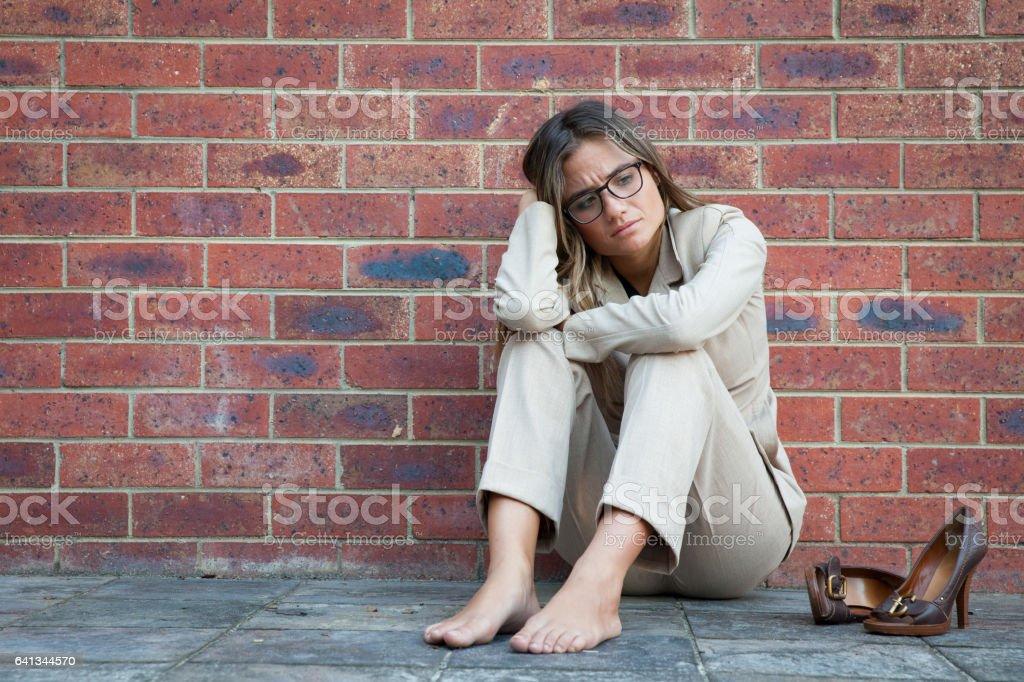 Исчерпаны бизнес женщина стоковое фото