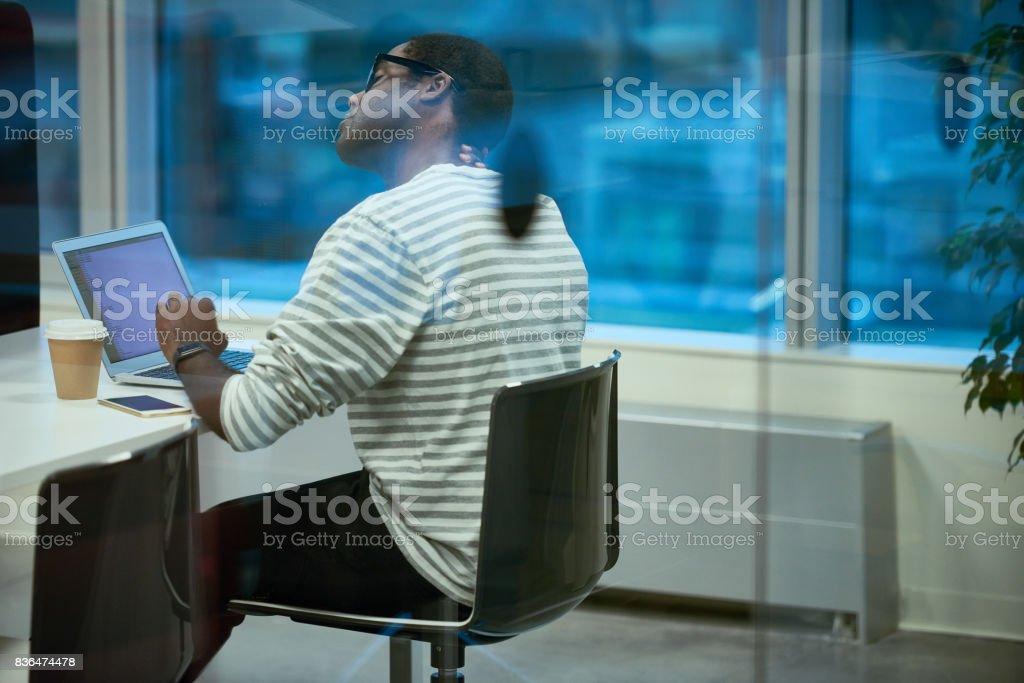 Exhausted employee stock photo