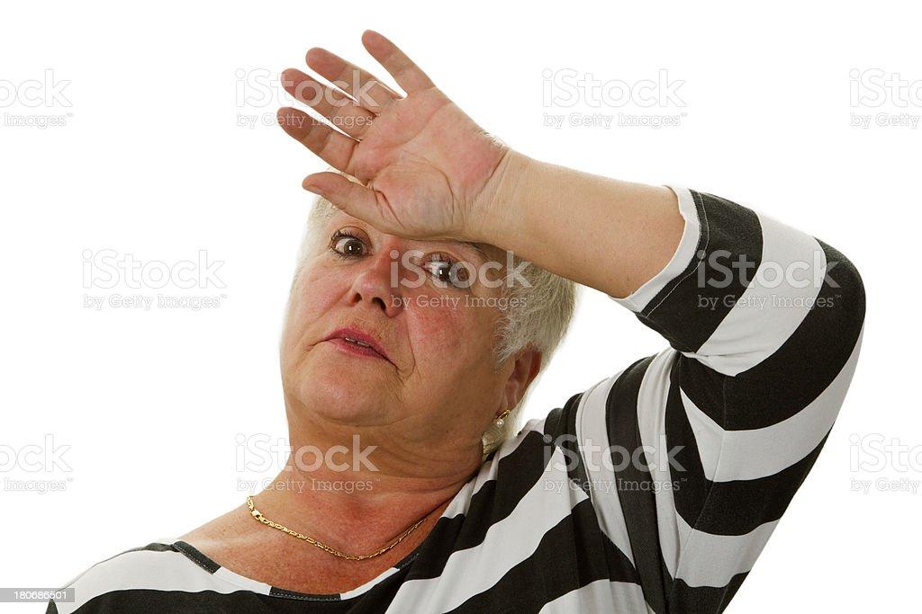 Exhausted female senior royalty-free stock photo