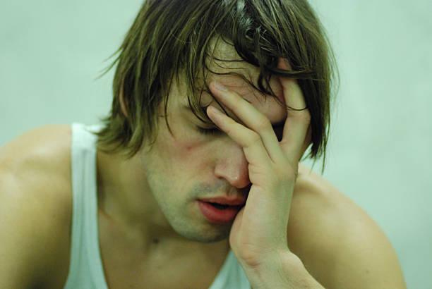 Erschöpften Mann mit Schweiß – Foto