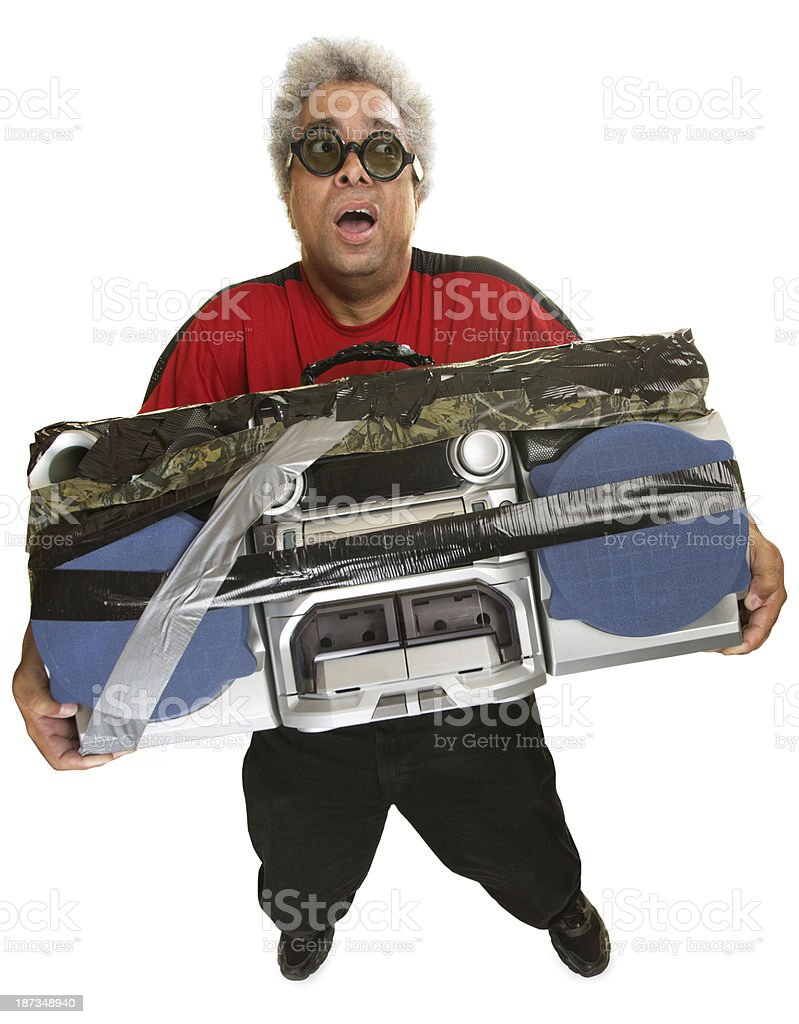 Exhausted Man with Tape Deck stock photo