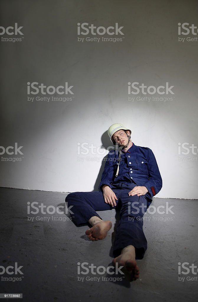 Exhausted retro fireman stock photo