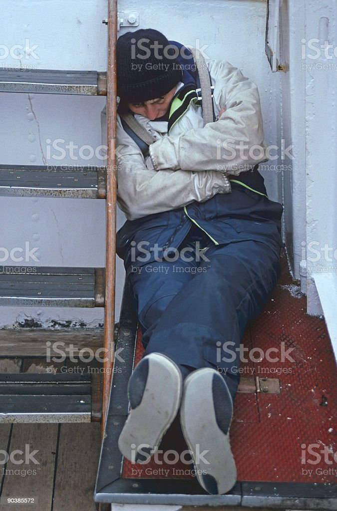 Exhausted sailor stock photo