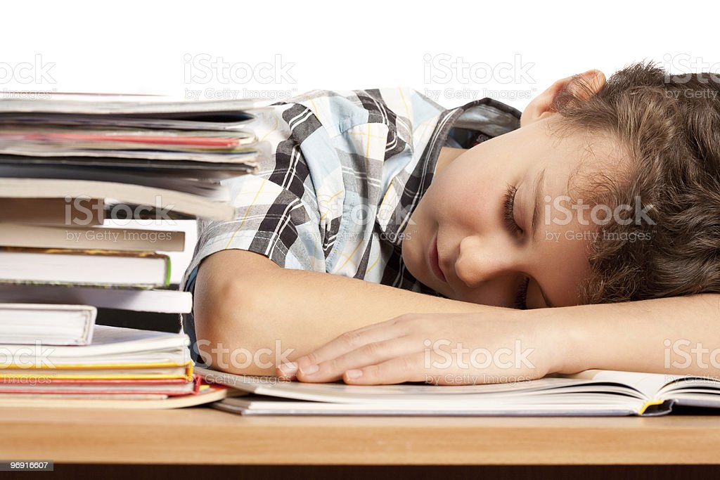 Exhausted schoolboy royalty-free stock photo
