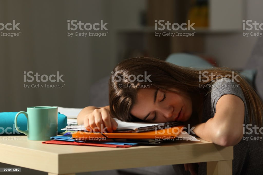 Exhausted student sleeping late night at home royalty-free stock photo