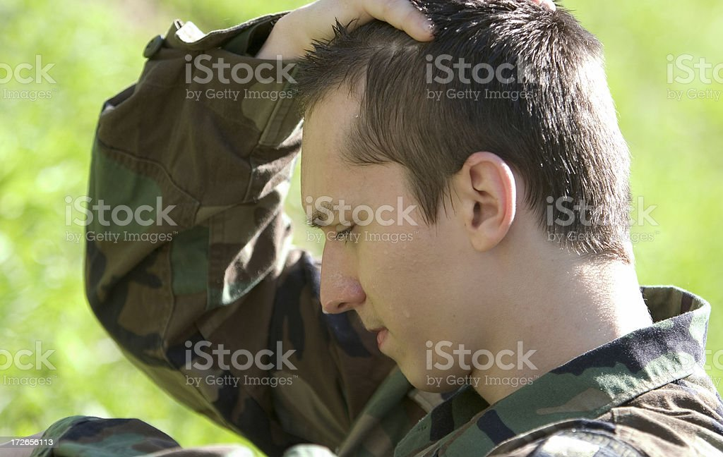 Exhausted US soldier royalty-free stock photo