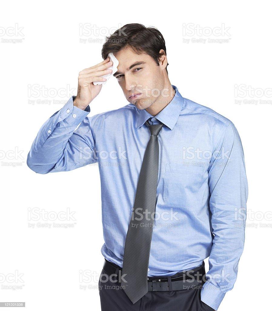 Erschöpfter junger Geschäftsmann, isoliert auf Weiß - Lizenzfrei Abgelenkt Stock-Foto