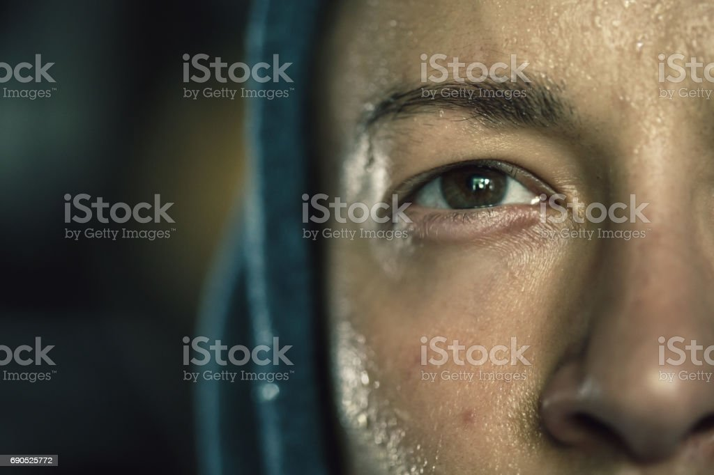 Exhausted young man stock photo