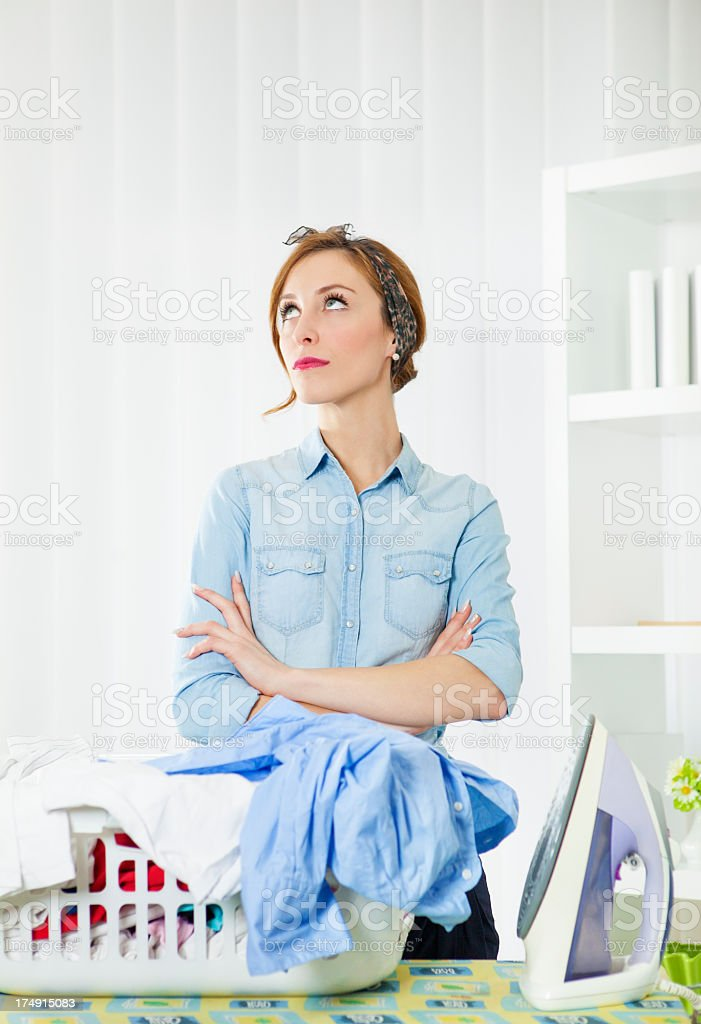 Exhausted Young Woman Household Chores. royalty-free stock photo