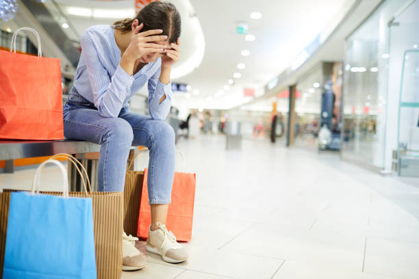 Exhausting shopping stock photo