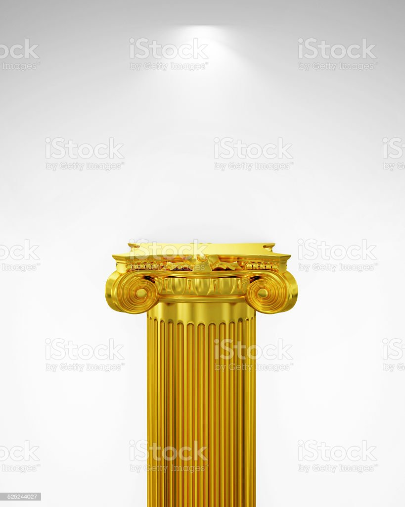 Exhibit Golden Pillar with Light, render stock photo