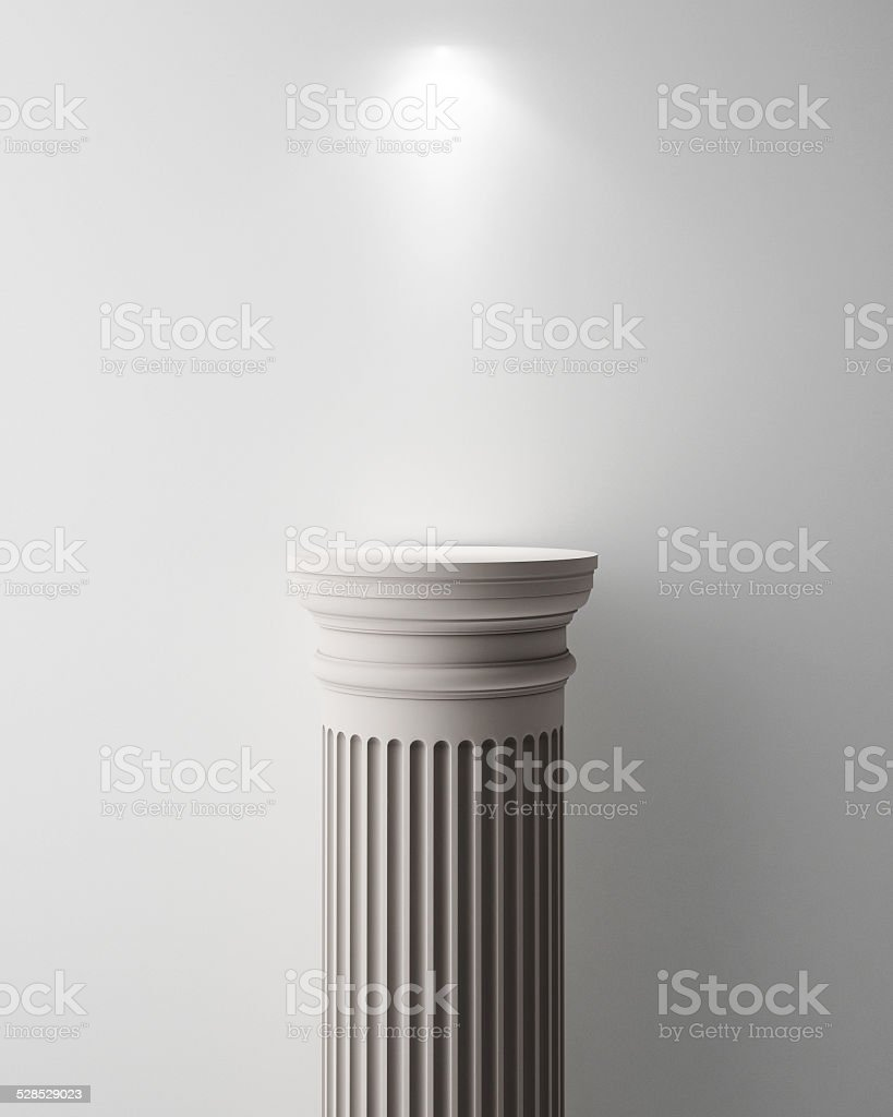 Exhibit Pillar with Light, render stock photo