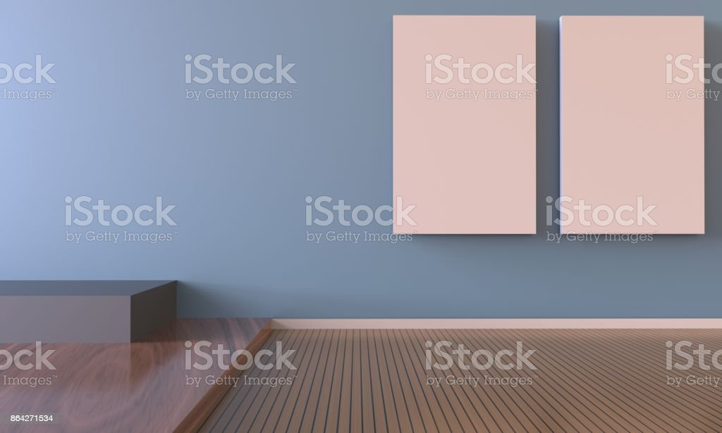 Exhibition Art and picture frame Gallery Contemporary on Blue Wall stock photo