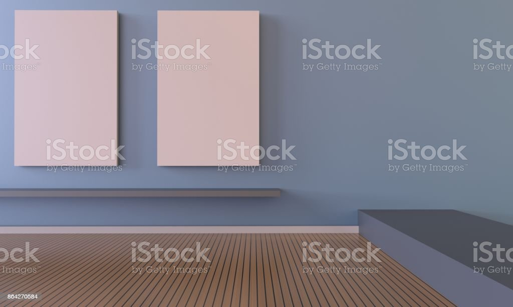 Exhibition Contemporary Art and picture frame Gallery on Blue Wall stock photo