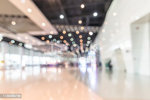 1047189958 istock photo Exhibition event convention hall business blur background of tech expo, trade fair, passenger terminal or museum gallery lobby with blurry interior large corridor hallway white room empty space 1139369799